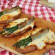 Crostone al caciocavallo irpino al tartufo con asparagi e guanciale