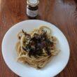 Maccaronara con carpaccio di tartufo, asparagi selvatici e funghi